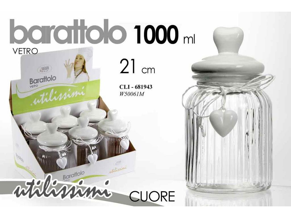 BARATTOLO CUCINA GICOS VETRO CON CUORE ML. 1.000