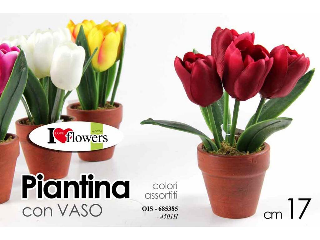 Lampada Fiore Tulipano : Fiori artificiali piantina piccola gicos tulipani cm. 17